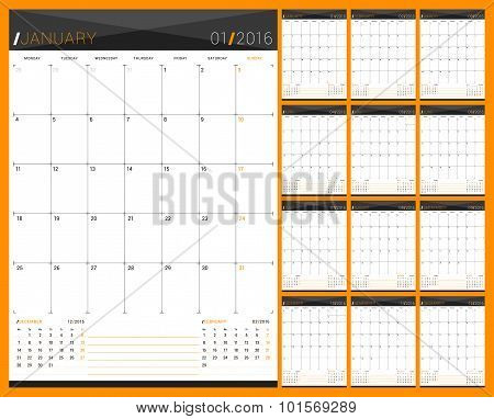 Monthly Calendar Planner For 2016 Year. Set Of 12 Months. Week Starts Monday. Vector Design Print Te