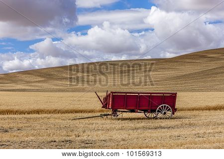 Wheat Wagon In The Field.