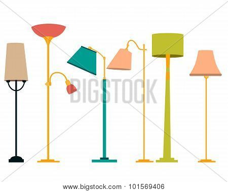 Set floor lamp. Classic and modern design. Vector illustration