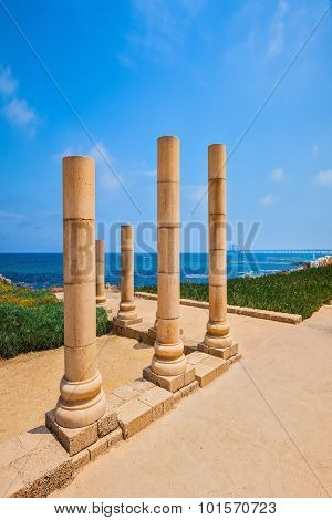 National Park Caesarea on Mediterranean coast, Israel. Ancient columns from the Roman period