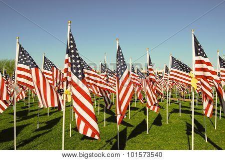 Us Flags In Honor Of 911