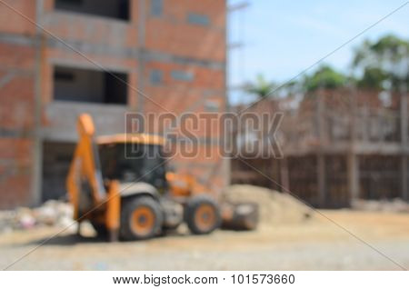 Blur  Building Incomplete And Tractor Abstract Background.