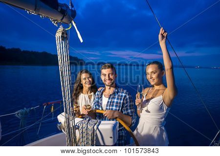 Guy made a trip for the girls on the yacht.