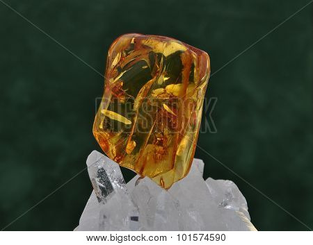 Amber On Rock Crystal