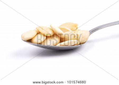 Blanched Almonds On Spoon