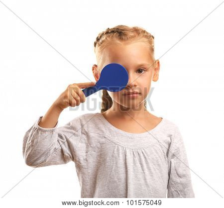 Young girl undergoing eye test with stick isolated on white