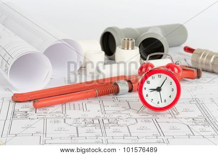 Drafts with instrument and alarm clock