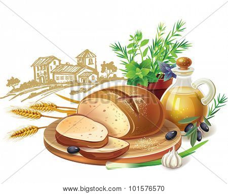 Rustic bread and wheat ears against country landscape