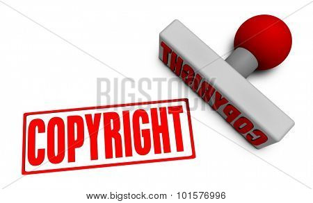 Copyright Stamp or Chop on Paper Concept in 3d