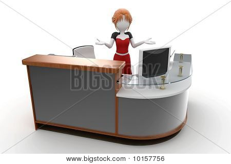 3D Girl Working At The Help Desk