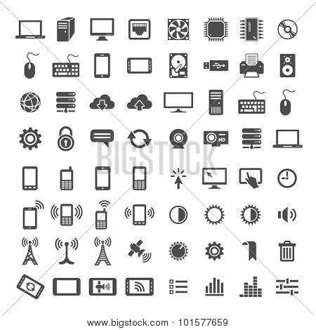 Simplus icons series. Network and mobile devices. 64 universal vector icons