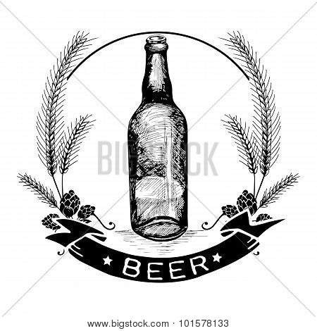Hand Drawn Beer Label And Badge