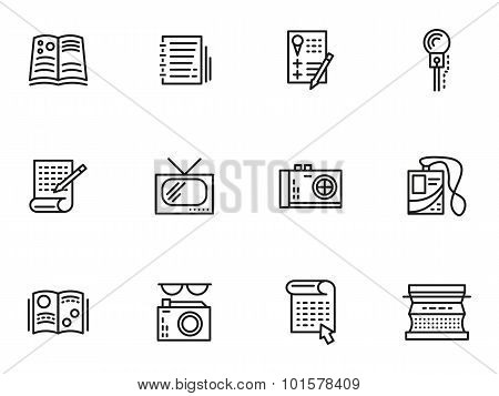 Media publishing simple line style vector icons