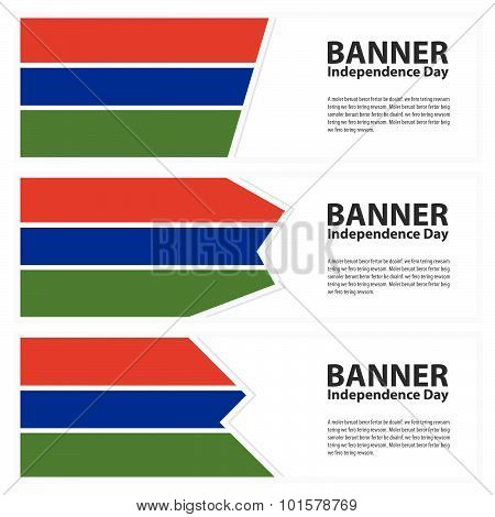 Gambia Flag Banners Collection Independence Day