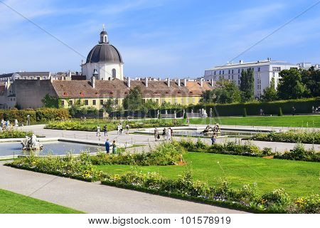Decorative Gardens Of Belvedere In Vienna, Austria