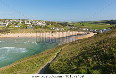 Mawgan Porth beach north Cornwall England near Newquay and south of Porthcothan and Treyarnon on a s