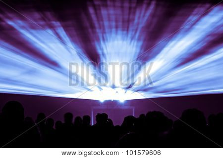 Laser Show Rays In Blue And Purple Colors