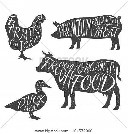Farm animals icon set. Chicken, cow, duck, pig
