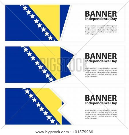 Bosnia And Herzegovina  Flag Banners Collection Independence Day