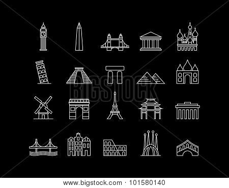 International Landmark Simple Line Art Icon Set