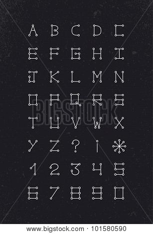 Alphabet Font Geometric Set Modern Simple Line