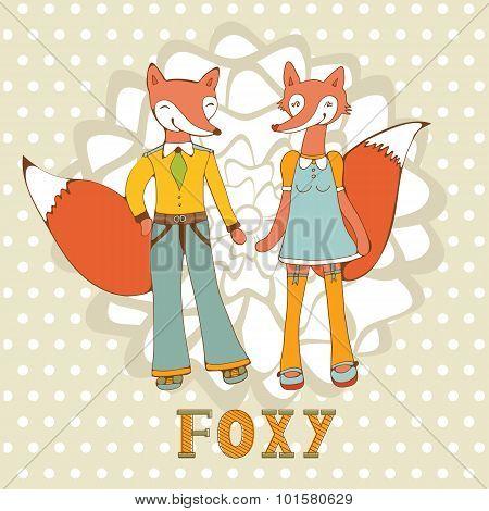 Adorable foxes couple