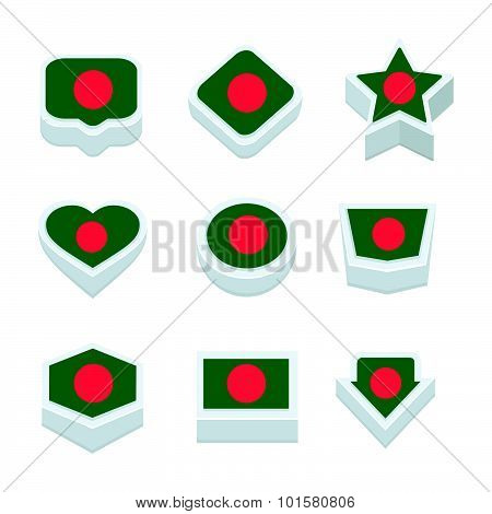 Bangladesh Flags Icons And Button Set Nine Styles