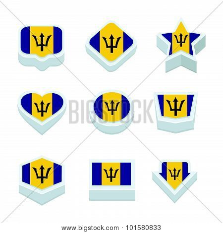 Barbados Flags Icons And Button Set Nine Styles
