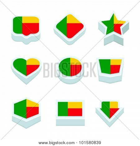 Benin Flags Icons And Button Set Nine Styles