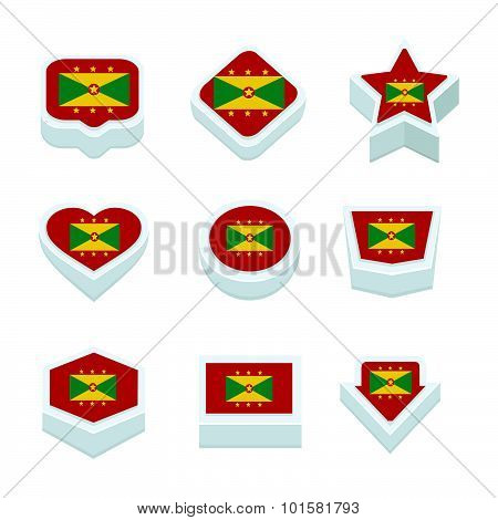 Grenada Flags Icons And Button Set Nine Styles