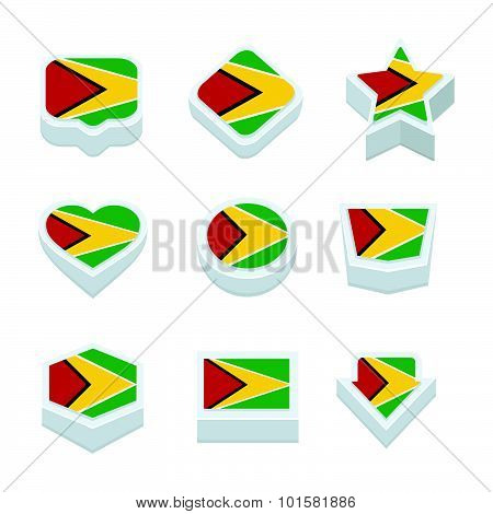 Guyana Flags Icons And Button Set Nine Styles