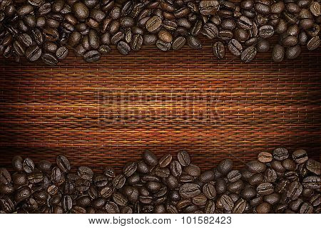 coffee beans on a straw mat