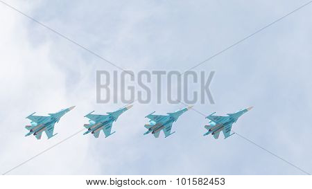 Four Su-34 In The Sky