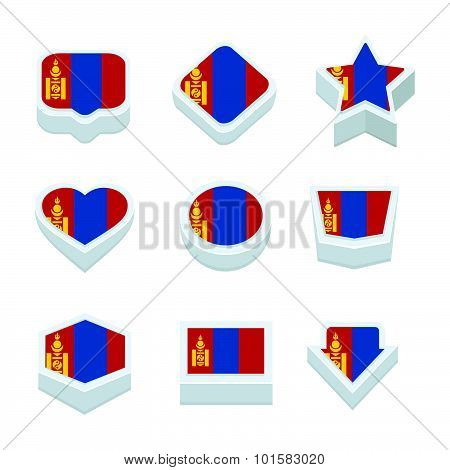 Mongolia Flags Icons And Button Set Nine Styles