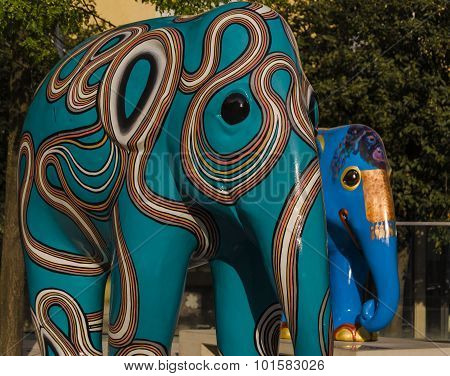 Colorful elephant statue