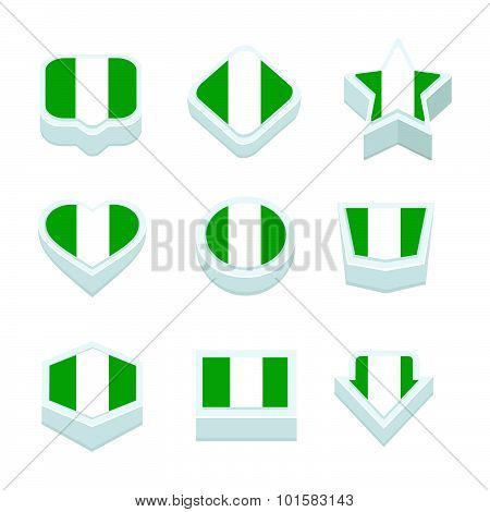 Nigeria Flags Icons And Button Set Nine Styles