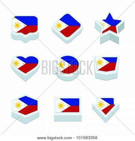 Philippines Flags Icons And Button Set Nine Styles