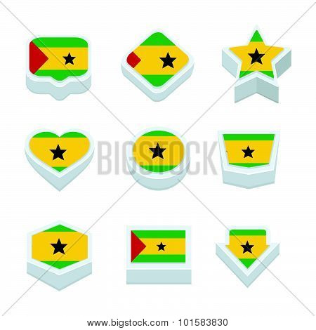 Sao Tome And Principe Flags Icons And Button Set Nine Styles