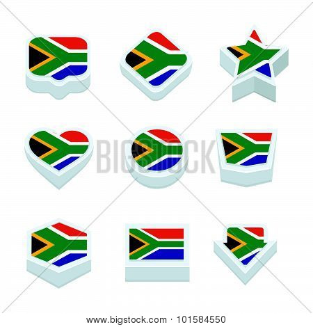 South Africa Flags Icons And Button Set Nine Styles