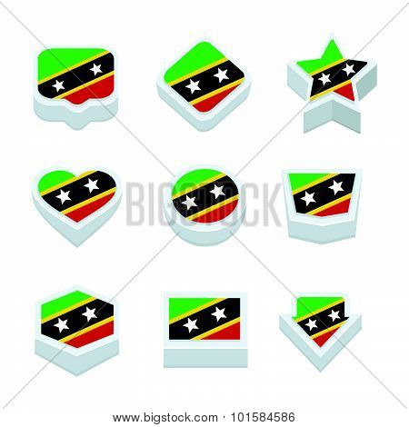 St Kitts & Nevis Flags Icons And Button Set Nine Styles