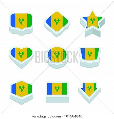 St Vincent & The Grenadines Flags Icons And Button Set Nine Styles