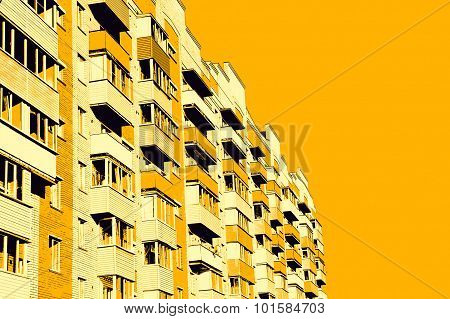 Modern Apartment Building On Yellow Background.