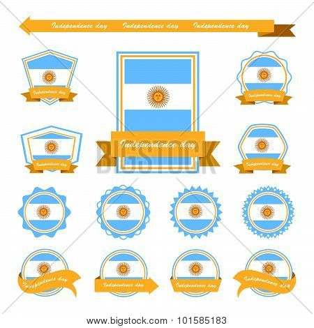 Argentina Independence Day Flags Infographic Design