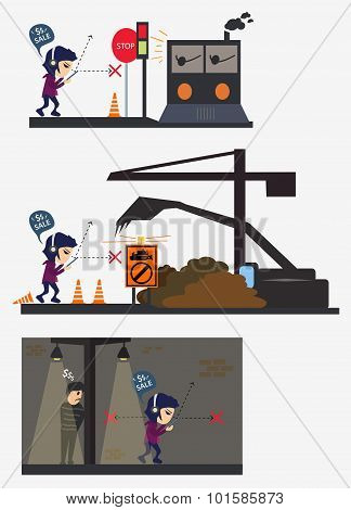 Accident Character Man Busy Eye In Road Scene Train Construction Bandit Night Vector