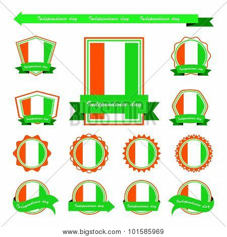 Cote D'ivoire Independence Day Flags Infographic Design