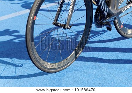 Bicycle Wheels On Triathlete Bicycle
