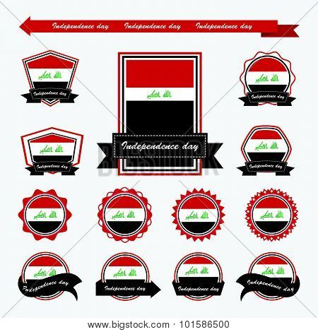 Label Iraq Independence Day Flags Infographic Design