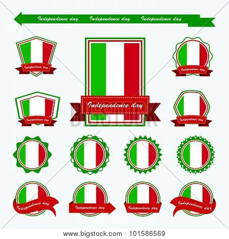 Label Italy Independence Day Flags Infographic Design