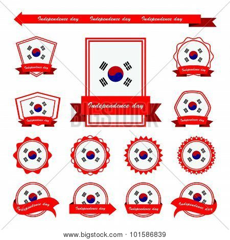 Korea South Independence Day Flags Infographic Design