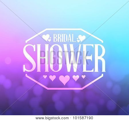 Bridal Shower Pink And Blue Bokeh Background Sign